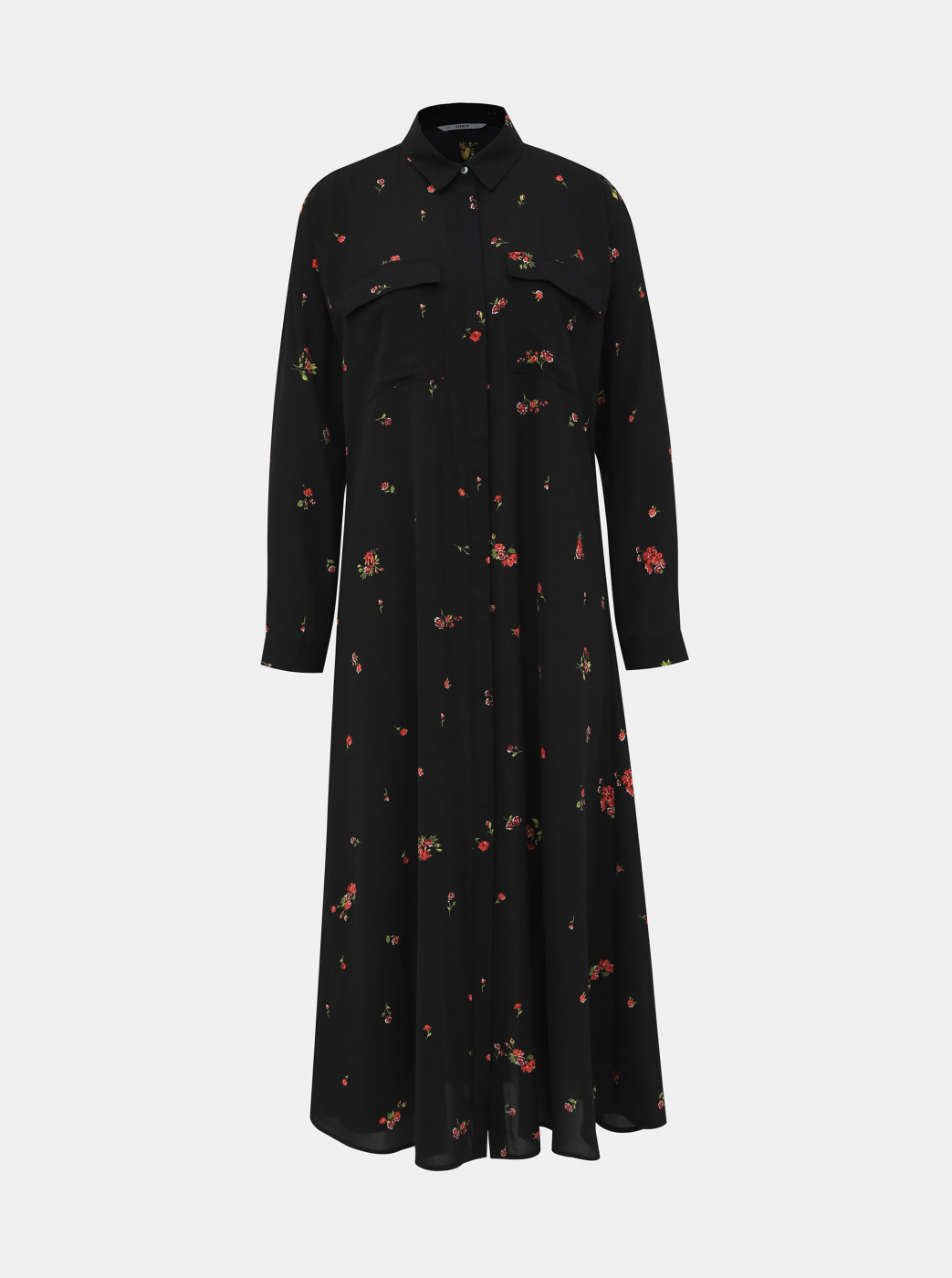 Black Floral Shirt Maxid Dress Only Ladie